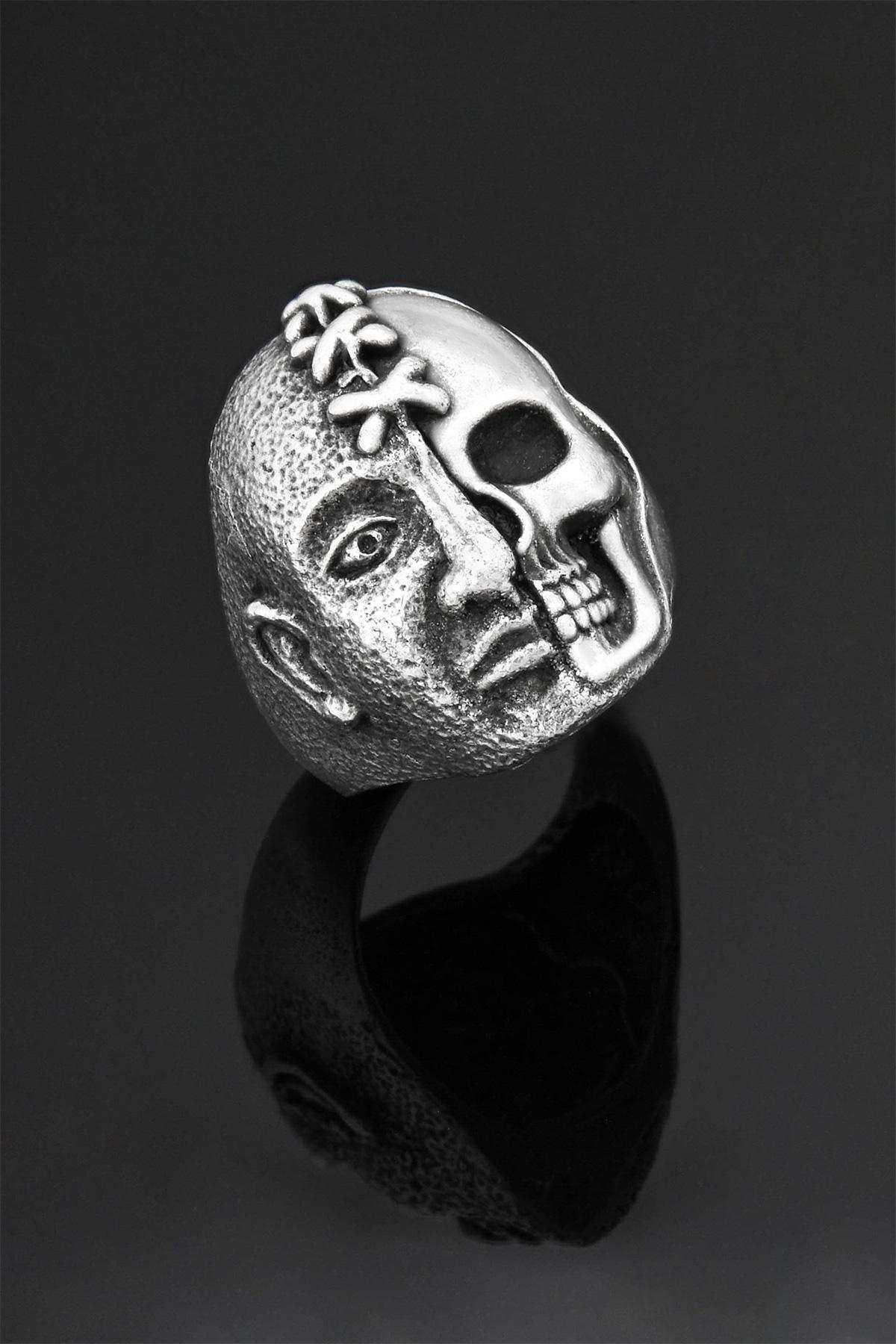 İki Yüzlü Hayalet Kuru Kafa Yaralı Yüz Ayarlanabilir Erkek Yüzük - YÜZ0003