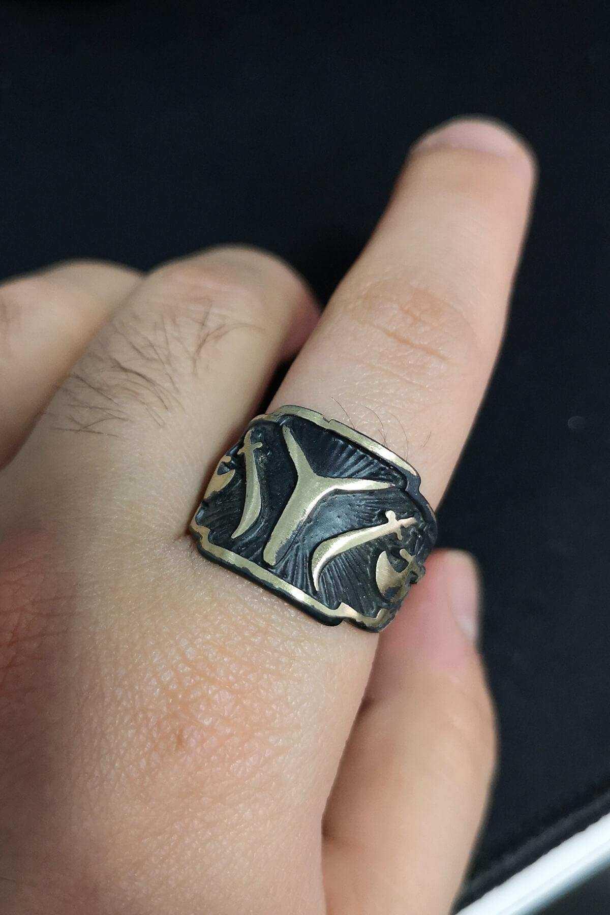 Antik Eskitme IYI Kayı Boyu Diriliş Ayarlanabilir Erkek Yüzüğü - YÜZ0216