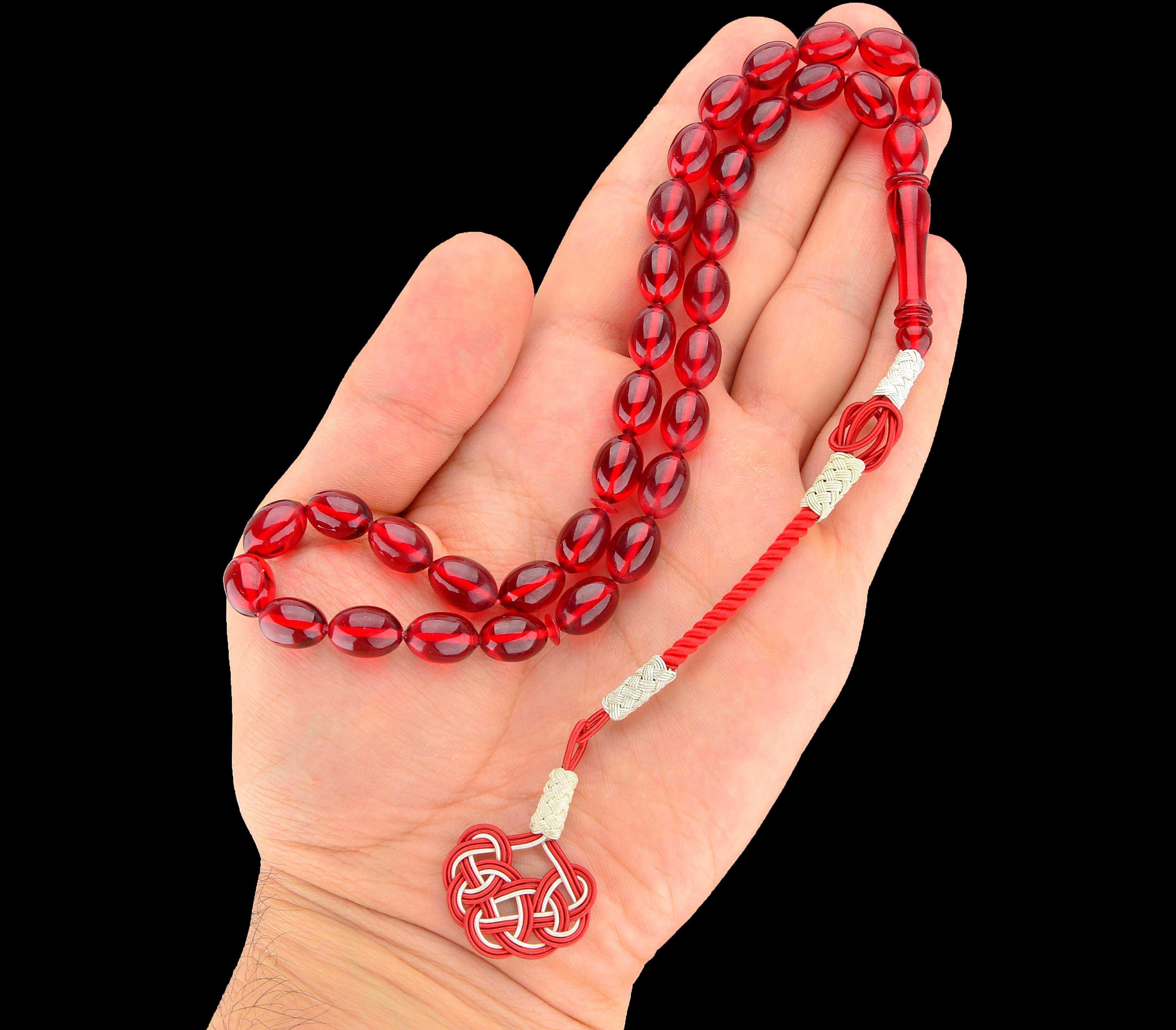 Kırmızı Ateş Kehribar Tesbih - KEH0104