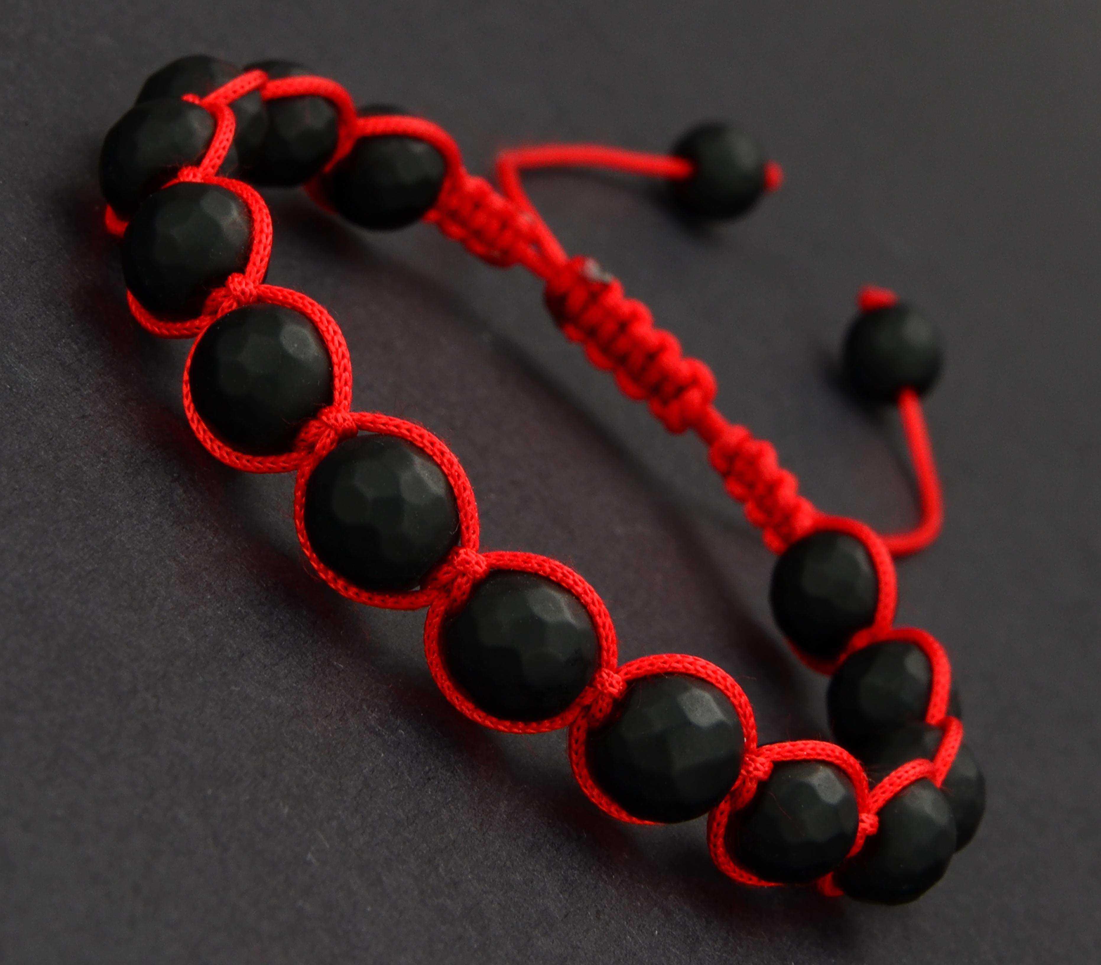 Kırmızı Shamballa Oniks Doğal Taş Bileklik - TAŞ0302