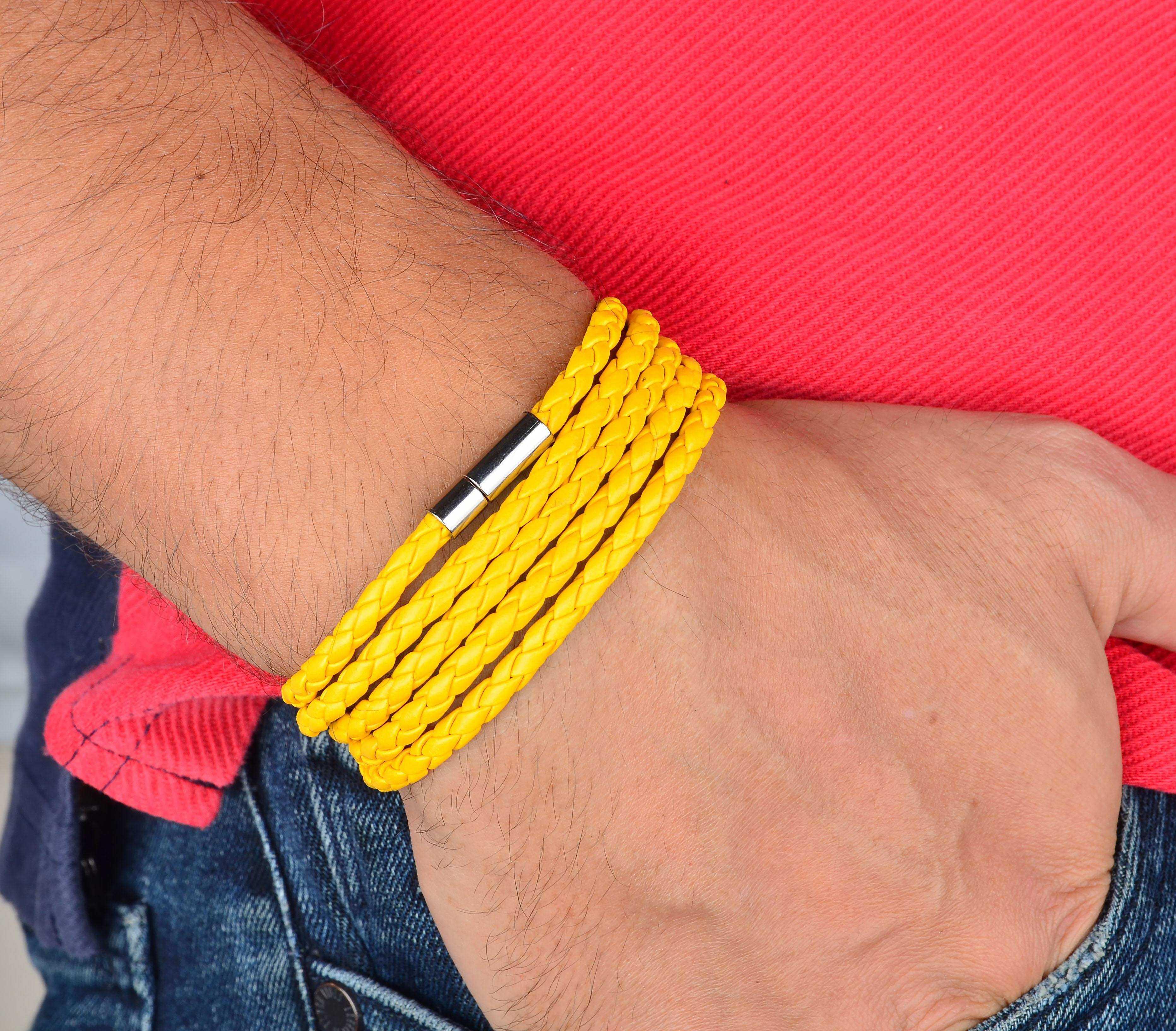 Sarı Deri Sarma Bileklik - DER0008