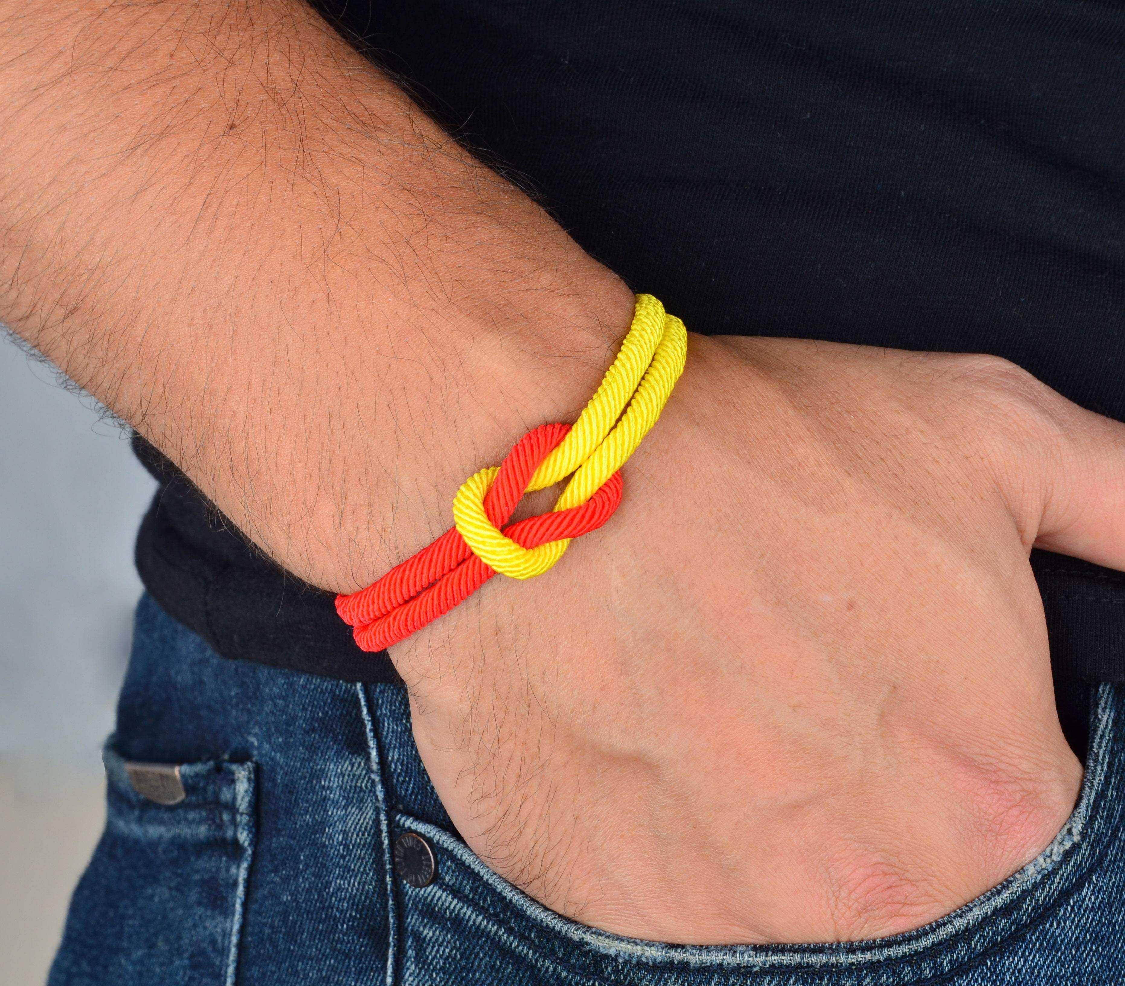 Sarı Kırmızı İp Bileklik - İPB0032