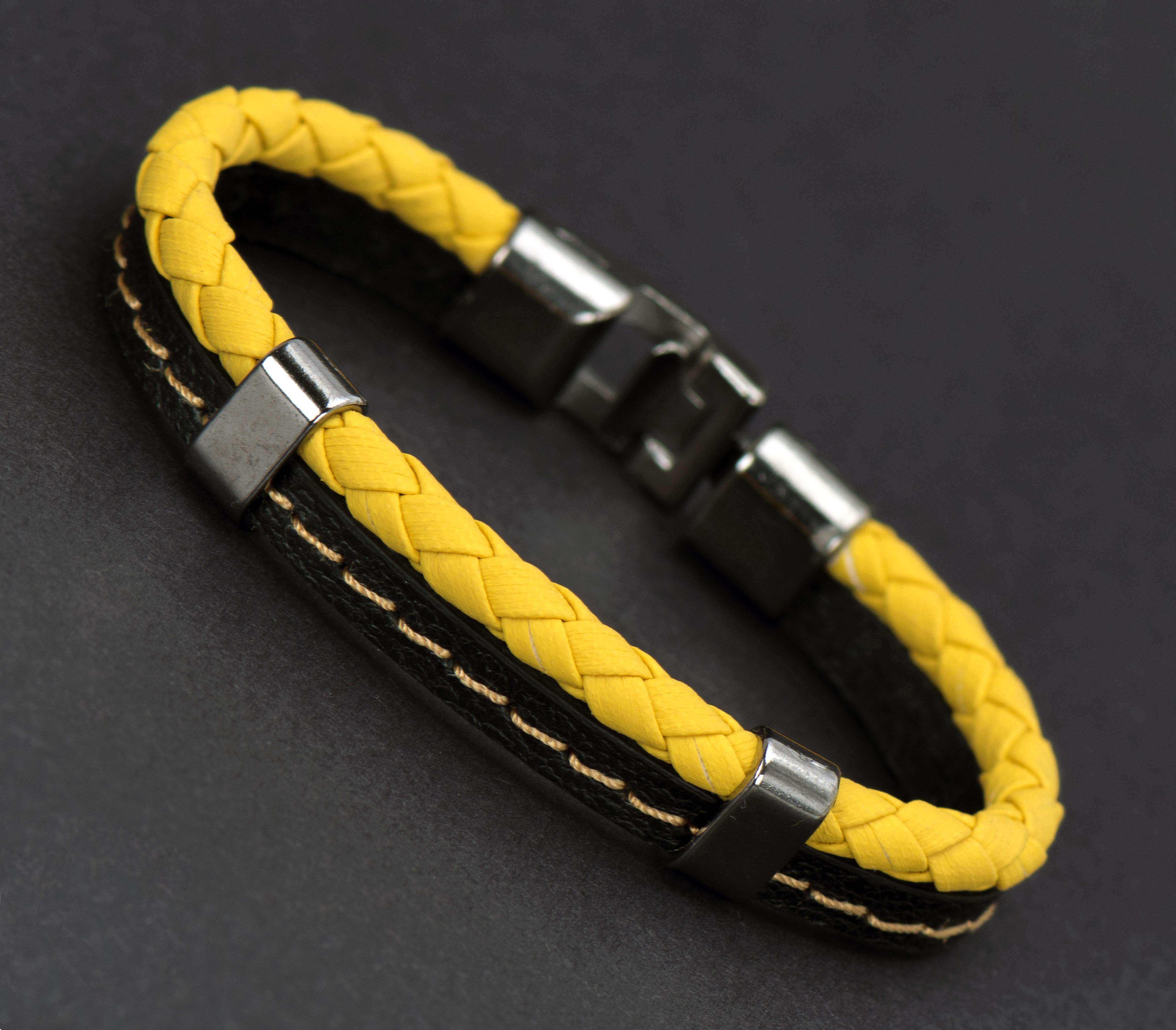 Sarı Siyah Deri Bileklik - DER0150