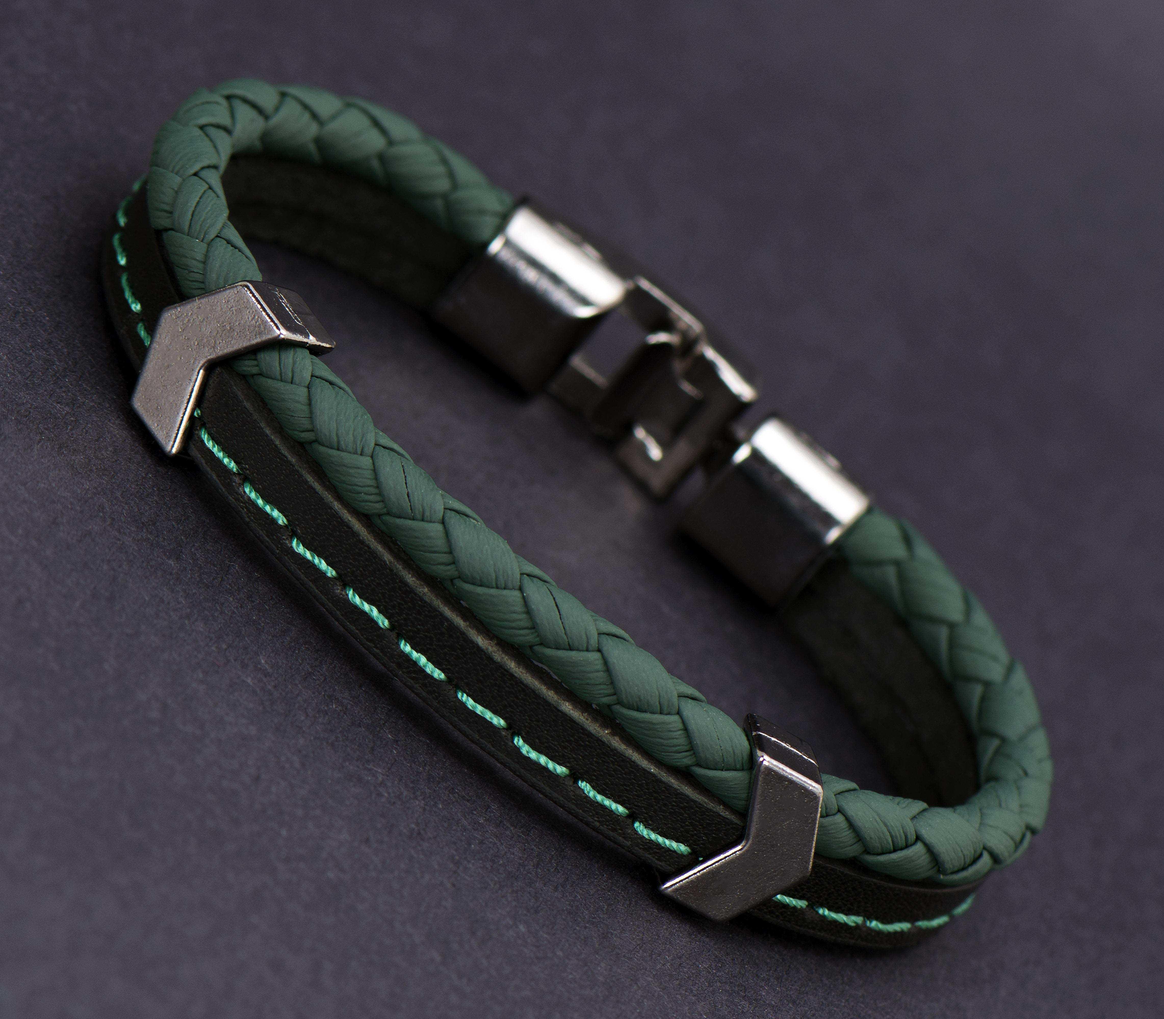 Yeşil Siyah Deri Bileklik - DER0151