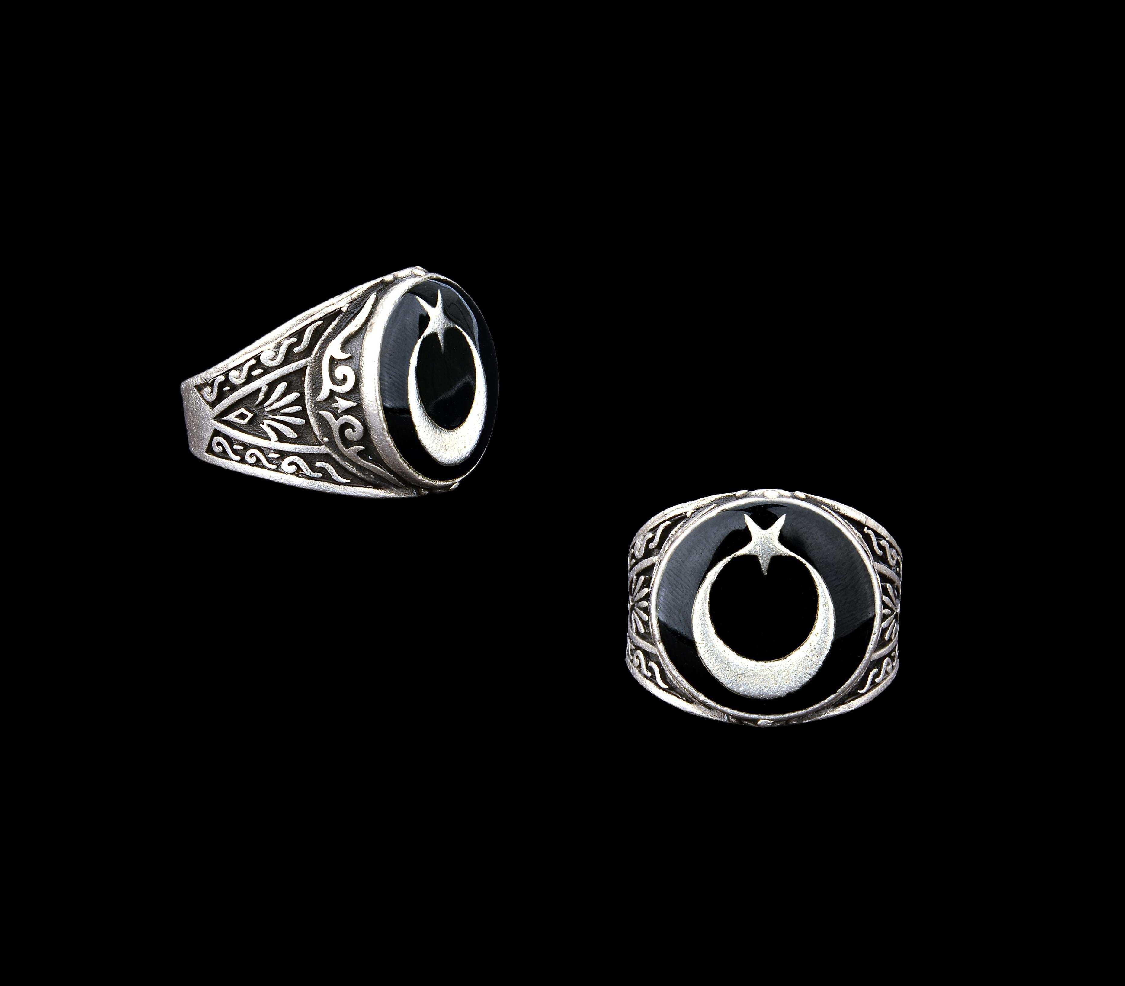Ay Yıldızlı Siyah Mineli Yüzük - YÜZ0047