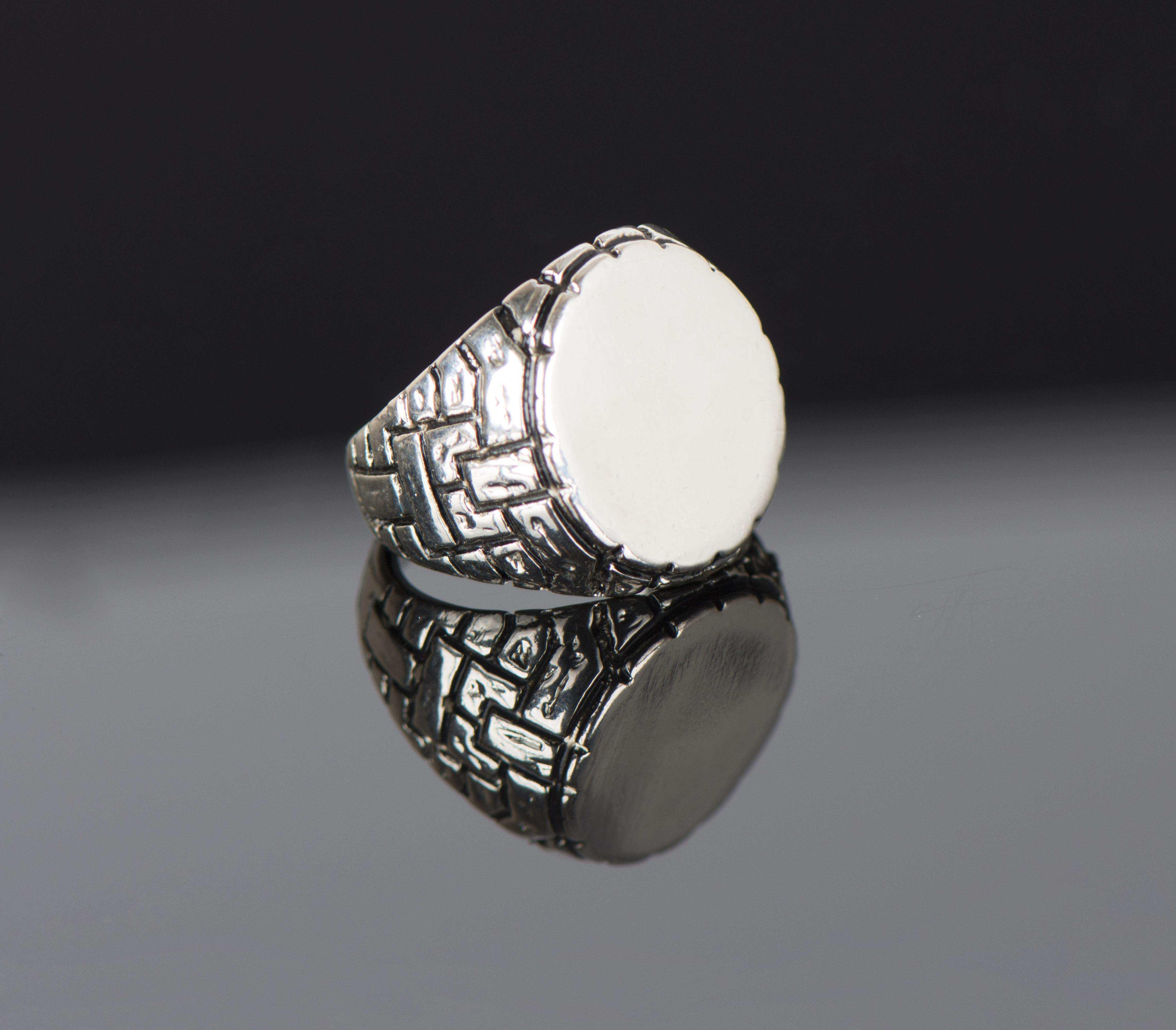 Parlak Gümüş Erkek Yüzük - YÜZ0076