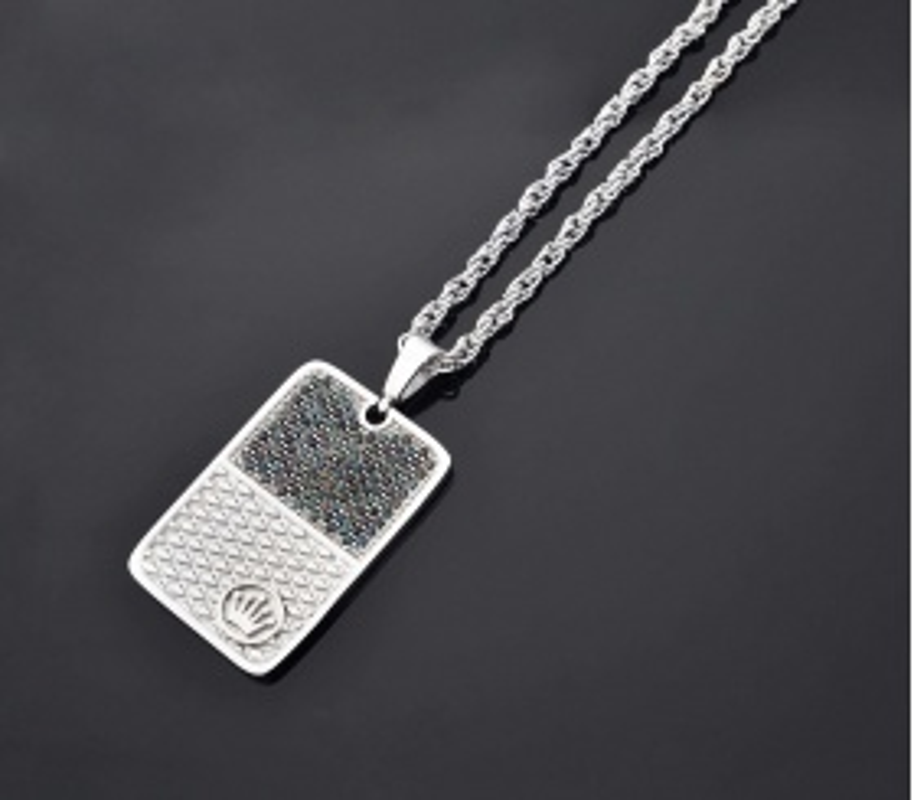 ZCN Zirkon Taşlı Gümüş Künye Kolye - ZCN0045