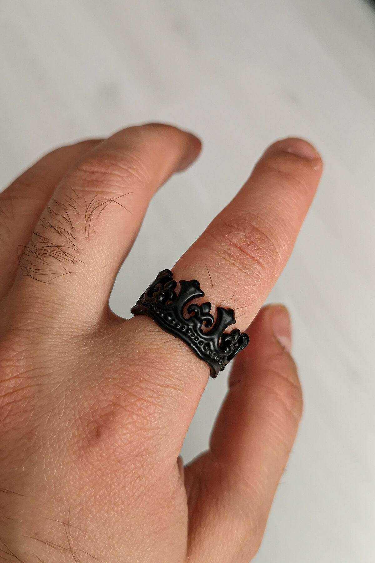 Mat Siyah Unisex Kral Kraliçe Ayarlanabilir Kraliyet Tacı Yüzük - YÜZ0235