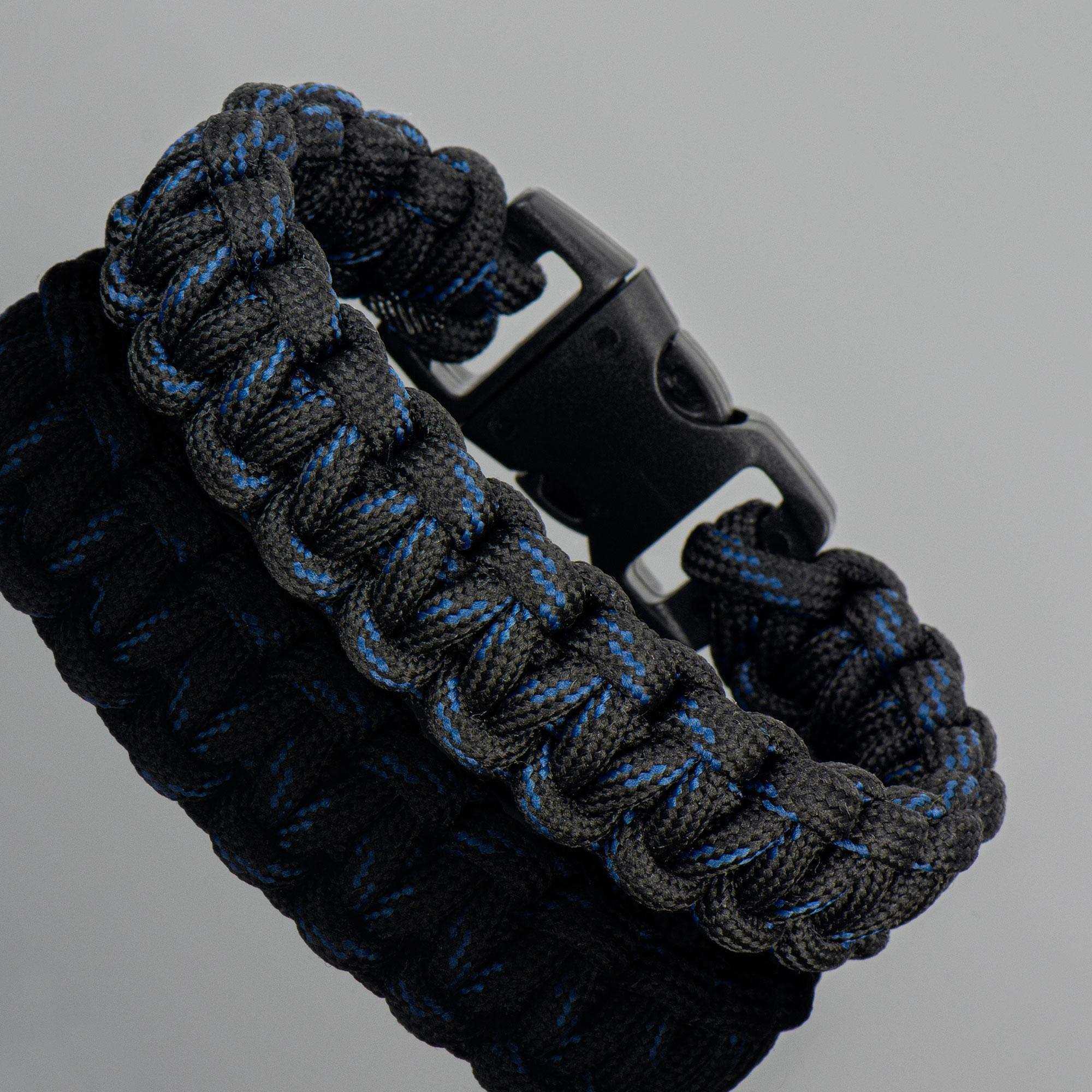 Siyah Mavi Survival Paracord Kamp Bilekliği - PAR0111