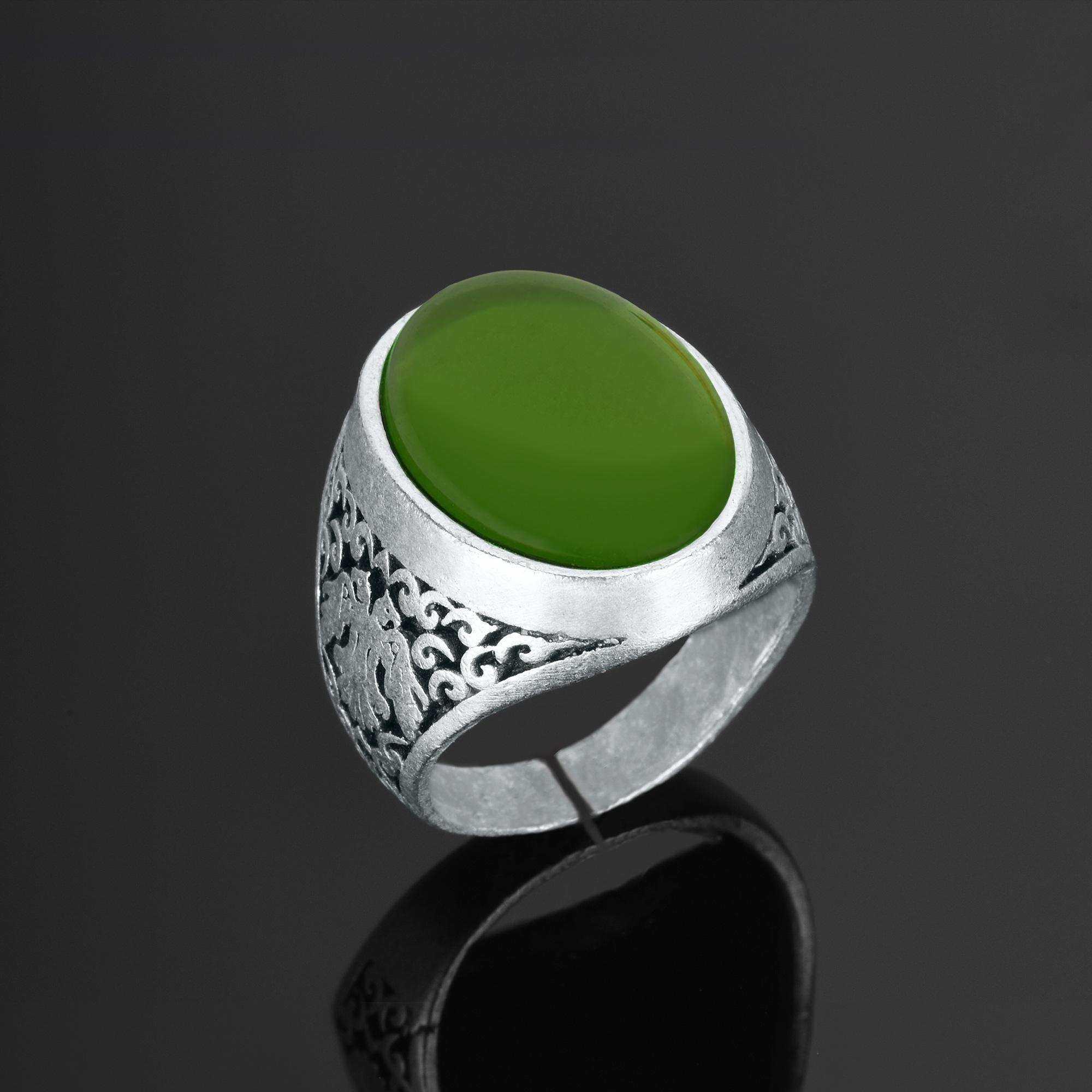Yeşil Taşlı Erkek Yüzük - YÜZ0130