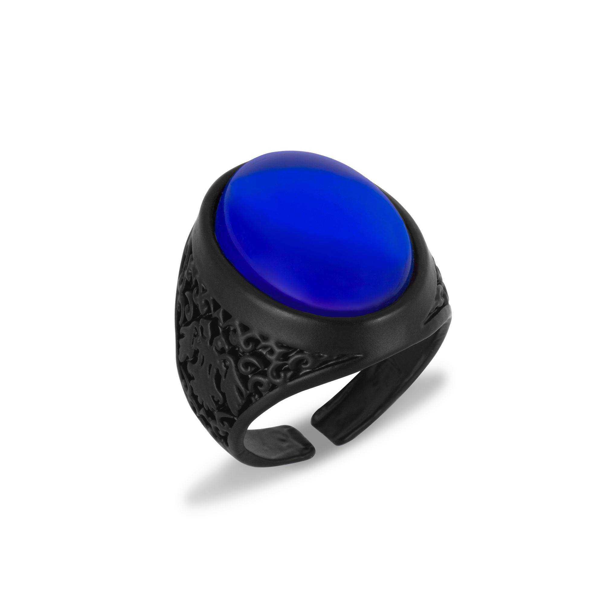 Mat Siyah Mavi Taşlı Erkek Yüzük - YÜZ0133